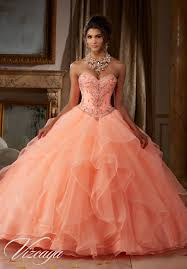 quinceanera dresses coral gemstone and beading on flounced organza quinceañera dress