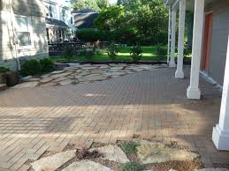 Brick Stone Patio Designs by Quartzite Flagstone And Beldon Brick Paver Patio Design Green