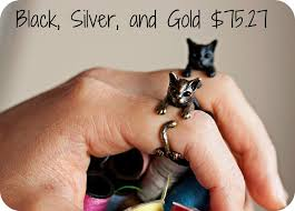 etsy rings black images Cat rings makeover meow jpg