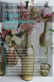 top 10 bridal shower rules wedding etiquette pinterest