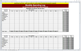 Spending Spreadsheet Monthly Spending Log Monthly Spending Worksheet