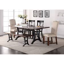 crown mark astor mixed style dining set with bench wayside