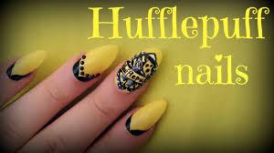 Harry Potter Designs Harry Potter Hufflepuff Nail Art Youtube