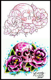 old candy skull and roses tattoo design by thirteen7s on