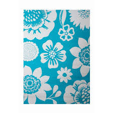 Area Rugs Tropical Shop Garden Treasures Turquoise Rectangular Indoor Outdoor Machine