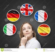 Spanish Flag Circle Beautiful Lady Is Surrounded By Bubbles With European Countries