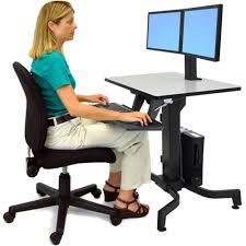 ergotron workfit d sit stand desk light grey surface decorative