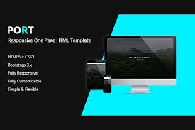 port one page html template html css themes creative market