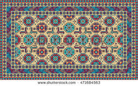 Colorful Aztec Rug Colorful Mosaic Rug Traditional Folk Geometric Stock Vector