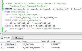 How To Delete A Table In Sql Sql Server List All Objects Created On All Filegroups In