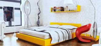 yellow white red modern bedroom by sayeed sh design
