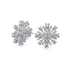 cluster stud earrings sterling silver cz cluster snowflake stud earrings