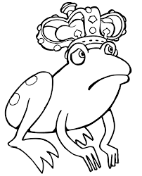 frog coloring page worried frog wearing a crown