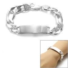 engravable id bracelet sterling silver 13mm engravable figaro chain id bracelet wholesale
