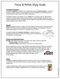 force and motion study guide and review worksheet sol 4 2 by