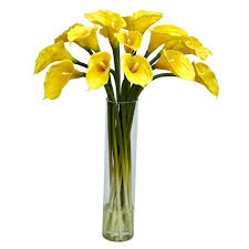 Glass Vase Cylinder Nearly Natural Calla Lilly With Cylinder Silk Flower Arrangement