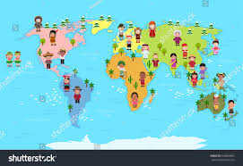 Nigeria On World Map by World Map Kids Various Nationalities Stock Vector 650860603