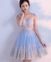 light blue formal dresses cute light blue v neck tulle short prom dress homecoming dresses