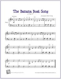 free printable sheet music for xylophone banana boat song day o free easy piano sheet music