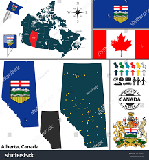 vector map state alberta coat arms stock vector 296298872