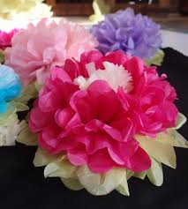 14 multi color tissue paper flower decorations fuchsia