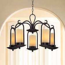 Indoor Lantern Chandelier Onyx Faux Stone Candle 30