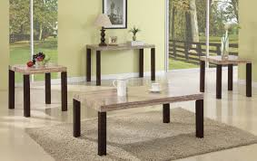 faux travertine top modern 3pc coffee table set w options