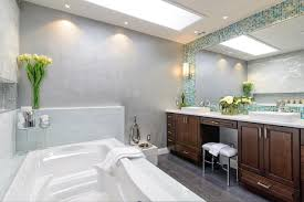 gray spa bathroom with blue mosaic tile this beautiful master