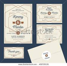 vintage art deco wedding invitation set stock vector 297998198
