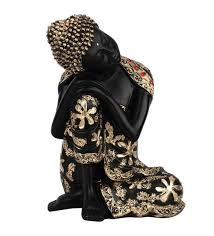 Buddha Home Decor Statues Buy Black And Gold Polyresin Resin Craft Bodhisatva Thinking