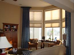 decoration awesome bay window idea using vertical blinds stylish white venetian blinds mixed brown silk loose curtain with rustic grommet home decor stores