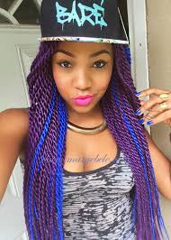 women of color twist hairstyles box braids extensions bright colours blue purple african american