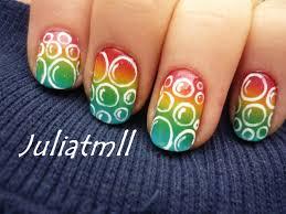 rainbow bubbles nail art tutorial youtube