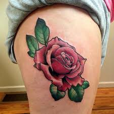 neo traditional pink rose tattoo on hip by frank ready tattoos