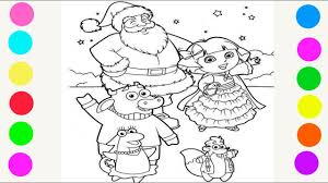coloring dora explorer christmas coloring pages kids