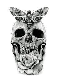 butterfly skull and stencil tattoos