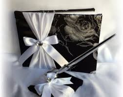 black wedding guest book black and white wedding guest book pen ring pillow and