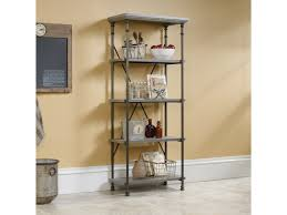 sauder bookcase with glass doors sauder canal street 5 shelf bookcase with metal frame john v
