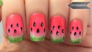 easy watermelon nail art tutorial youtube