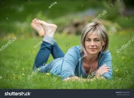 women in forties and grey hair nice woman forty years old years stock photo royalty free