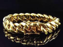 cuban link bracelet men images Men s k yellow gold miami cuban link style bracelet mm ksvhs jpg