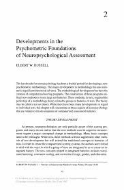 developments in the psychometric foundations of neuropsychological
