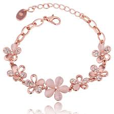 rose gold plated bracelet images Alloy crystal flower women rose gold plated singapore chain 18 5cm jpeg