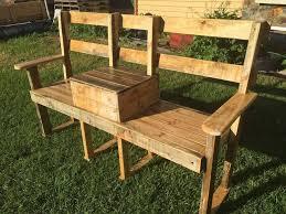 Wooden Pallet Bench Diy Pallet Garden Bench With Cooler 101 Pallets