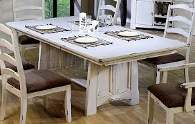 Country Style Dining Room Table Wash White Finish Country Style Dining Set