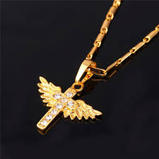 real gold cross necklace images U7 angel wings cross pendant necklace gold color crystal christian jpg