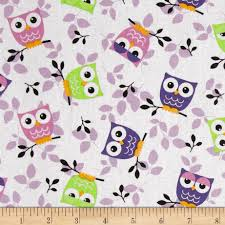 tossed owls white purple lime from fabricdotcom this cotton print