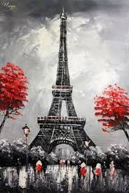 eiffel tower lighted palette knife oil painting on canvas