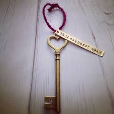 personalized housewarming gifts first home ornament custom hand stamped skeleton key heart