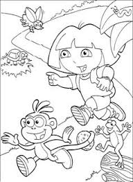 dora boots walk bridge coloring pages